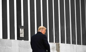 Donald Trump at the US-Mexico border in Texas in January, on the eve of leaving office.