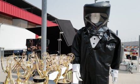 The hazmat tuxedo suit especially designed and created for the 2020 Emmys in Los Angeles.