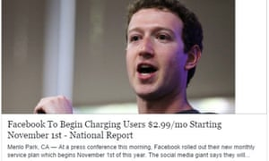 A fake news report claiming that Facebook was to begin charging for its service.