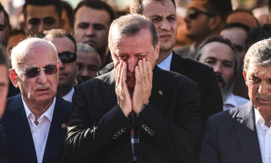 Turkey's President Recep Tayyip Erdogan at the funeral of a victim of the coup attempt in Istanbul on 17 July 2016