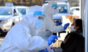 Coronavirus testing drive-thru, Bassini Hospital, Cinisello Balsamo.