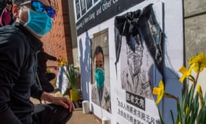 Chinese students and their supporters hold a memorial for coronavirus whistleblower Dr Li Wenliang, UCLA, Westwood, California.