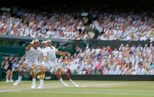 A multiple-exposure of Roger Federer as he takes on Marin Cilic on Centre Court in the men's singles final