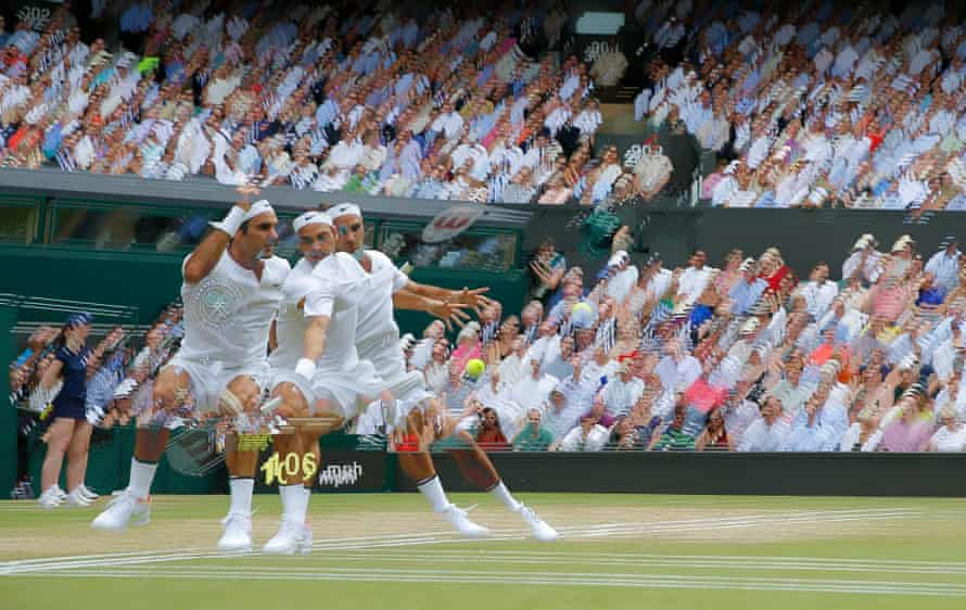 A multi-exposure shot of Roger Federer during his victory in the men's singles final against Marin Cilic.