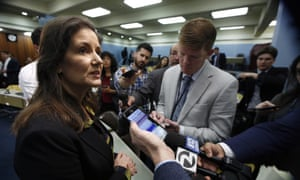 Libby Schaaf, mayor of Oakland, talks to reporters about the arrival of the Grand Princess cruise ship on Monday.