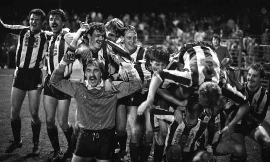 Chorley celebrate after their 3-0 victory over Wolves in the FA Cup first round second replay at Burnden Park.