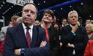 Nigel Dodds, leader Arlene Foster and former leader Peter Robinson
