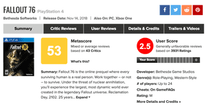 Metacritic's current summary of reviews and user scores for Fallout 76.