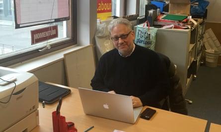 Jon Lansman in the Momentum office.