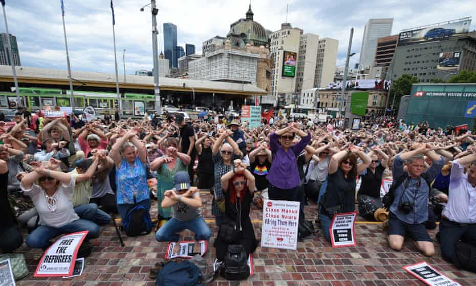 Protesters in Melbourne join a nationwide demonstration to protest the Australian government's treatment of refugees on Manus Island. Médecins Sans Frontières have been trying to access the refugees and asylum seekers, many who have serious medical issues.