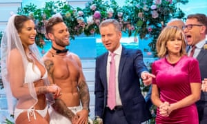 Love Island contestants Jess Shears and Dominic Lever (left) appear with Jeremy Kyle (centre) on ITV show Good Morning Britain in 2018.