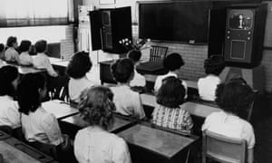 School pupils watching television, circa 1950.