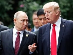 Donald Trump with Vladimir Putin in Helsinki, Finland.