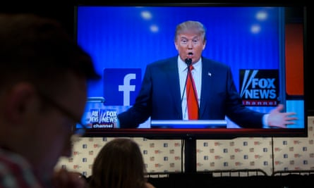 Donald Trump at a primary debate hosted by Fox News and Facebook, 2015.