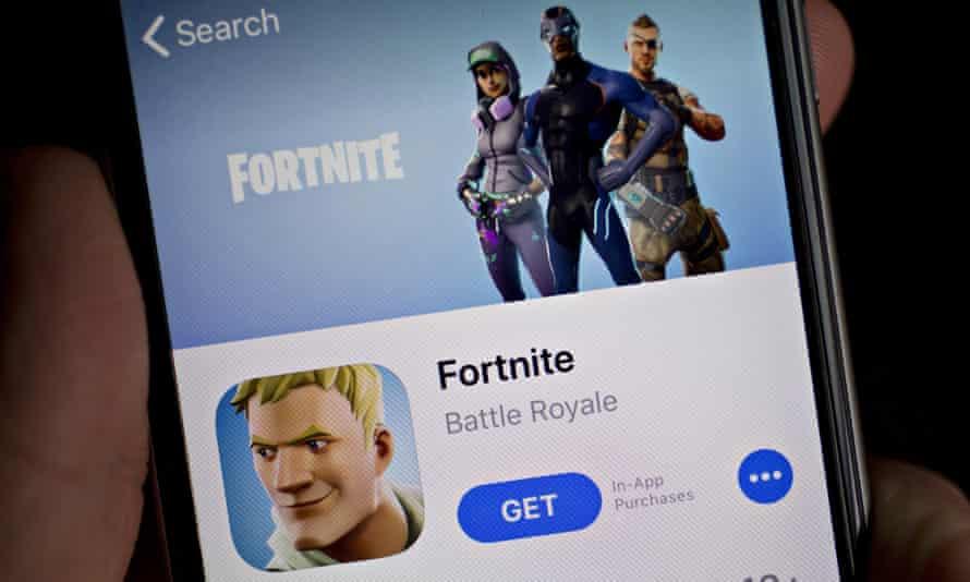 Fortnite displayed on an Apple iPhone screen