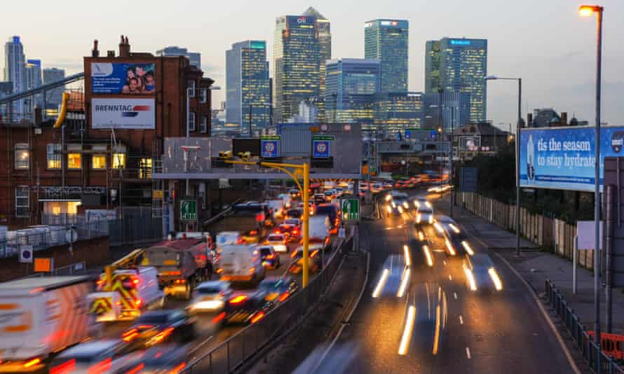 Blackwall Tunnel Approach, London, with Canary Wharf tower in background