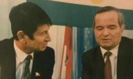 Uzbek politician Samandar Kukanov, left, shown with Islam Karimov, before Kukanov was jailed under the president's rule.