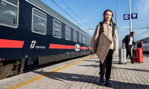 Greta Thunberg in Rome in April. She chose a train-only travel agency to book the trip.