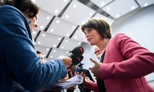Swiss federal councillor Doris Leuthard, the head of the Department of the Environment, Transport, Energy and Communications, speaks after a media conference on the 'No Billag' initiative.