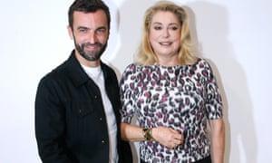Nicolas Ghesquière and actress Catherine Deneuve backstage after the Louis Vuitton show
