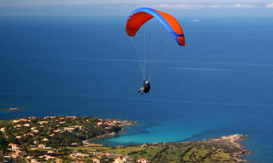 Paragliding in Corsica.
