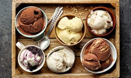 ice-cream on a grey slate table