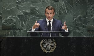 President of France Emmanuel Macron addresses the United Nations General Assembly at UN headquarters on September 24, 2019 in New York City