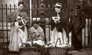 Flower sellers in Covent Garden; London, in 1877.
