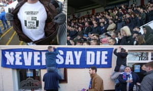 A fan proudly shows off his T-shirt; the Hartlepool fans in the bumper 7,000 crowd cheer their team on; Hartlepool fans put up a banner outside of the Mill House pub.