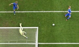 Arnor Ingvi Traustason of Iceland scores his team's second goal in the last minute