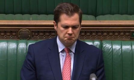 Robert Jenrick looking sad in the Commons