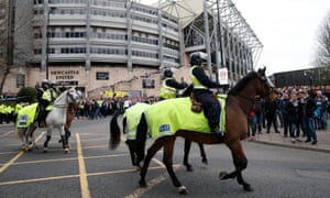 Newcastle United and Liverpool fans clashed inside and outside St James' Park on Saturday night.