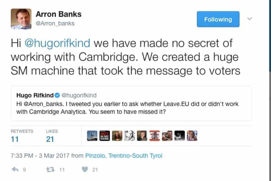 Arron Banks tweet