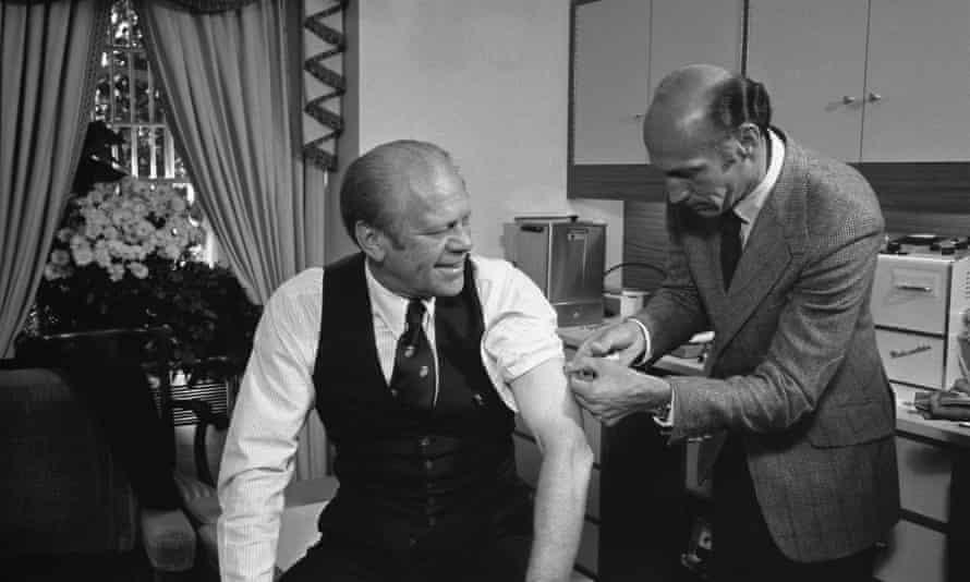 US president Gerald Ford receives a swine flu inoculation.