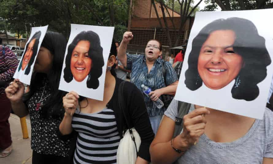 Activists protest against the murder of environmental activist Berta Cáceres in La Esperanza, Honduras.