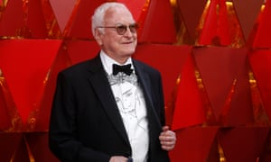 Oscar winner James Ivory, wearing a shirt featuring Call Me By Your Name star Timothée Chalamet.