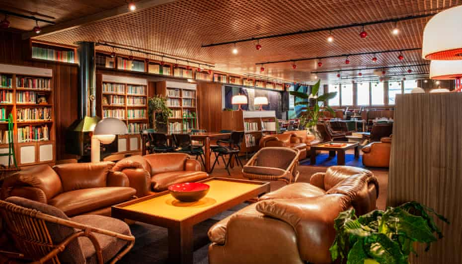 Recline and read … inside the Library Lounge, which was once a public library.