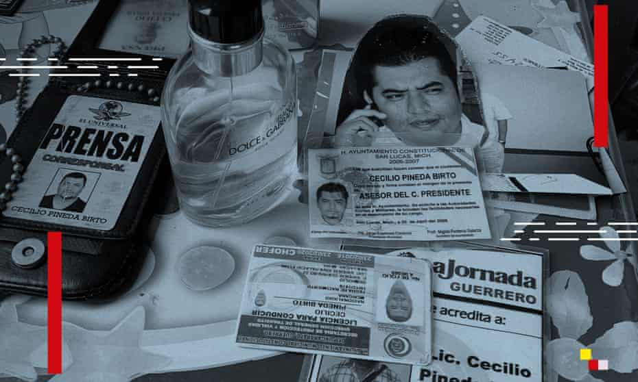 Pineda's press credentials among belongings kept by his wife. After going freelance in 2012 he quickly gained a reputation for exclusive crime scene reports.