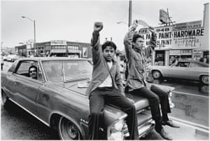 Two young Chicano men during a protest in Los Angeles, 1970.