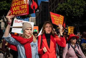Brooklyn Decker and Burrows take part in the Fire Drill Friday protest in LA earlier this month.