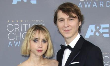 With boyfriend of 10 years, Paul Dano.