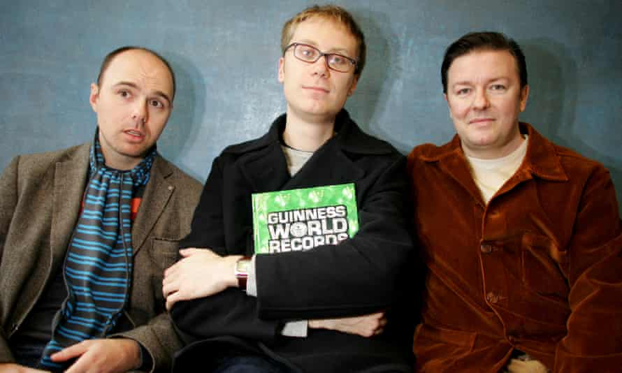 Karl Pilkington, Stephen Merchant and Ricky Gervais after setting the Guinness world record for the most downloaded podcast in 2006.