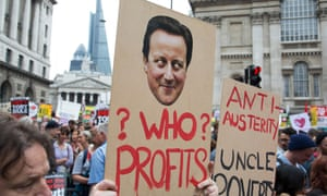 Protesters outside the Bank of England make their point.