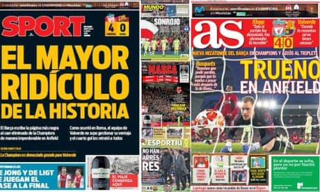 'Shameful. There is no other adjective' – Spanish press on Barcelona's defeat