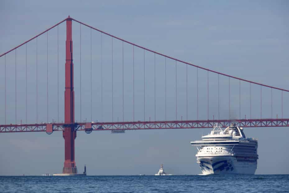 The Grand Princess cruise ship carrying passengers who have tested positive for coronavirus in the San Francisco Bay area.