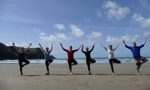 Yoga on the beach at Preseli Venture fitness weekend, Pembrokeshire