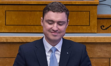 Estonian prime minister, Taavi Rõivas, speaking during a parliament session.
