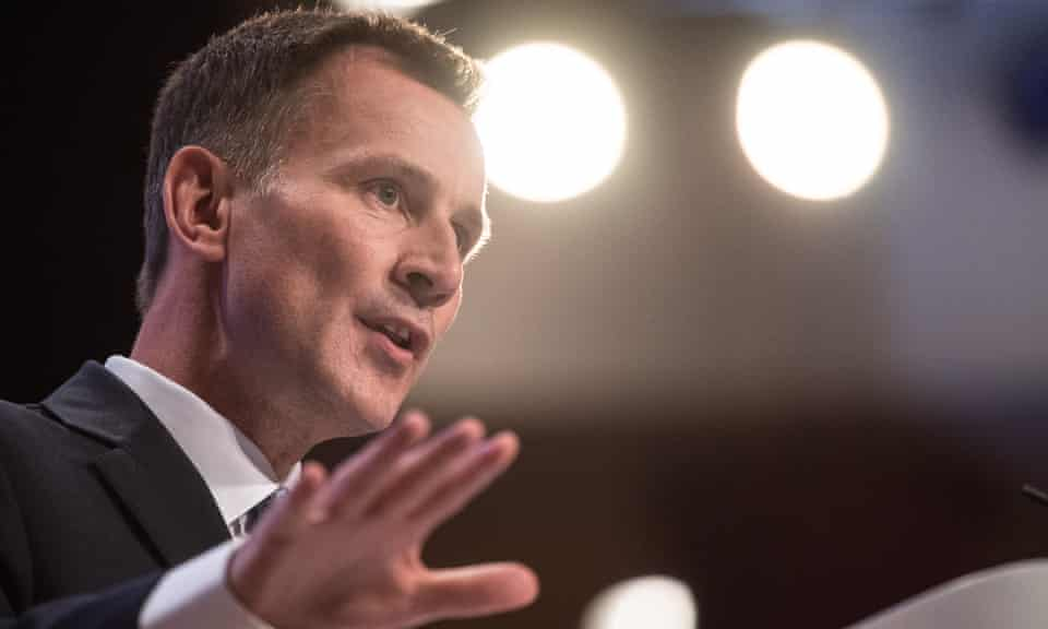 Foreign secretary Jeremy Hunt gives a speech at the Conservative party conference.