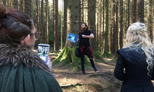 Eric Nolan, centre, shows Game of Thrones filming locations in Tollymore forest