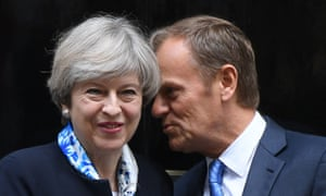 Donald Tusk with Theresa May when they met at Number 10 last month.